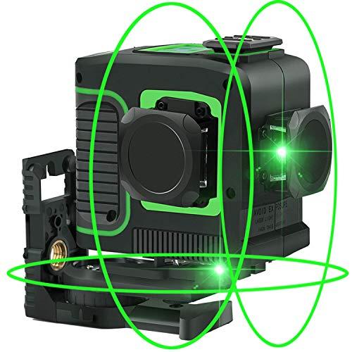 12ライン 3x360° レーザー墨出し器 すみだし グリーン 緑色 レーザー タイル 斜線機能クロスライン 大矩 自動水平 高輝度 高精度 ミニ型 電源方式 充電可能 多機能取付台付属