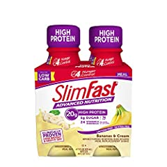 Pantry friendly & shelf stable Great taste - New, delicious bananas & Cream flavor, Gluten free and 99.8% Lactose Free Ideal for low-carb - SlimFast advanced Nutrition shakes as low as 1g Net Carb Curbs hunger - SlimFast advanced Nutrition shakes are...