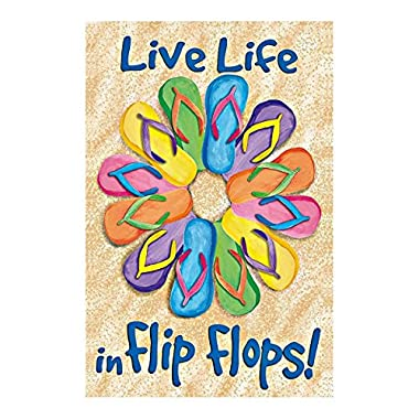 Fireworksss The Sea Garden Flag Live Life In Flip Flpos Colorful Flip Flops On The Beach Double Sided Outdoor Flags Of 100% Polyester And Waterproof Fade And Mildew Resistant-28 X 40 Inch Banner