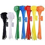 200 Piezas Etiquetas Amarre Cable, Nylon Etiquetas Amarre Cable Para Gestión Cables, Alambres Y Cables (7 Colores)