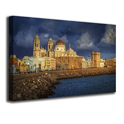 Desconocido Cuadro Lienzo Canvas Catedral de Cadiz Bahia Dia Nublado La Caleta – Varias Medidas - Lienzo de Tela Bastidor de Madera de 3 cm - Impresion en Alta resolucion (50, 28)