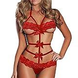 HOOUDO Womens Sexy Lingerie Babydoll Lace Bow Dress Nightwear G-String Sleepwear Babydoll Bodysuit Erotic Underwear Lingerie (M,Red)