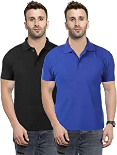 Camfoot Men's Multicolor Pack of 2 Poly Cotton Polo Collar & Plain Comfort Regular Slim Fit T-Shirt