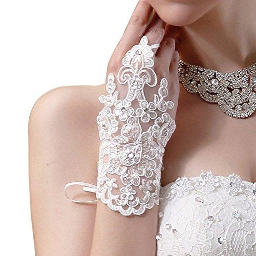 ROSENICE Paar der Braut Spitze Handschuhe fingerlose Strass Satin verziert für Hochzeit Party wei