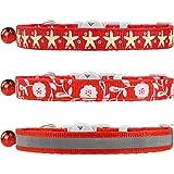 TagME 3er Pack Schnellverschluss Katzenhalsband Gemischtem Muster mit Glocke und Sicherheitsverschluss,Verstellbar 18-25cm, Rot
