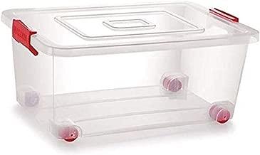 Siva Naturals. Plastic Storage Box with Lack and Wheel, 20 L(Transparent)