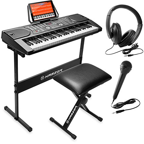 Hamzer 61-Key Portable Electronic Keyboard Piano with Stand, Stool, Headphones,...