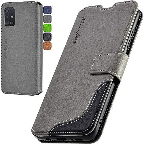elephones Handyhülle für Samsung Galaxy A51 Hülle mit TÜV geprüftem RFID-Schutz aus PU Leder Samsung Galaxy A51 Schutzhülle Flip Case Klapphülle Handytasche für Samsung A51 Grau