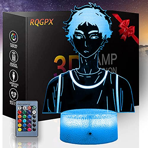 3D Haikyuu F Luz de noche, lámpara de ilusión 3D con ilusión óptica LED Lámpara de mesa botón táctil con 16 colores que cambian para regalo de cumpleaños de Navidad - Control remoto