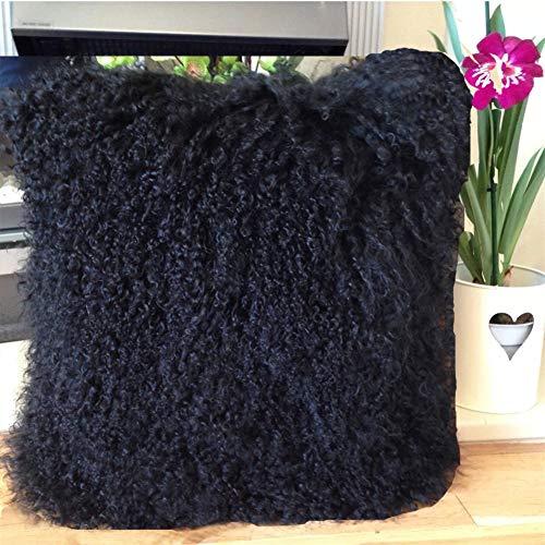 Seek4comfortable Black Mongolian Fur Pillow, Real Tibetan Mongolian Lamb Sheepskin Wool Fur Super Soft Plush Leather Pillowcase Cushion Cover,16 x 16 in