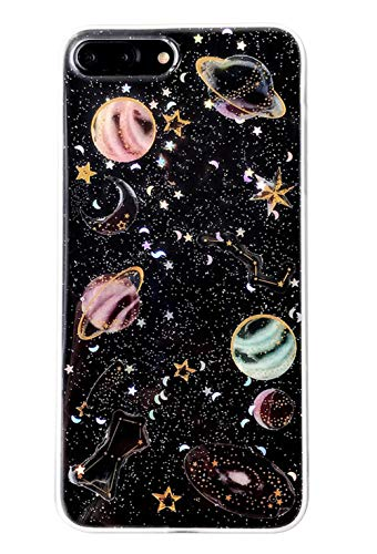 3C Collection Huawei Honor 10 Hülle Galaxis Planet, Huawei Honor 10 Hülle Glitzer Transparent, Clear Universum Sterne Muster Dünne Durchsichtige Hülle für Huawei Honor 10 Mädchen