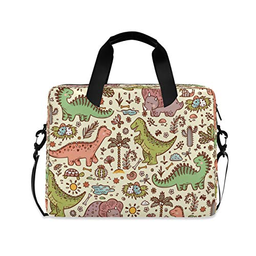 YKMUSTwin Animal Cute Dinosaur Pattern 13-15.6 Inch Laptop Shoulder Messenger Bag Laptop Case Sleeve with Strap Computer Briefcase for Women Men Boy Girls
