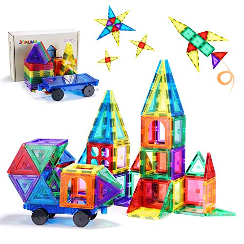 PLUMIA Magnetic Tiles for Kids 3D Magnet Building Tiles Set STEM Learning Toys Magnetic Toys for 3+ Year Old – 33 Pieces