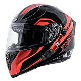 TORC Unisex-Adult Full-face Style T15B Bluetooth Integrated Motorcycle Helmet With Graphic (Gloss Black Edge Red, LARGE)