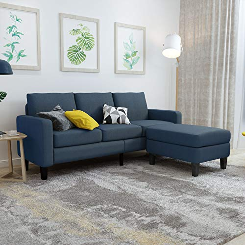 Mecor Modern Convertible Sectional Sofa Couch w/Reversible Chaise Linen Fabric L-Shaped Couch w/Thick Cushion&Deep Seat Mid-Century Upholstered Sofa for Living Room, Bedroom, Apartment
