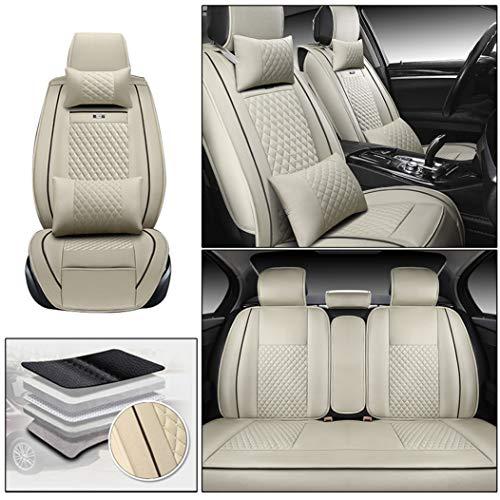 Dinuoda Car Seat Covers For Volksw agen Bora CC Golf Jetta Lavida Passat Polo Tiguan Touareg Full Set Custom 5-Seat Leatherette Car Front and Rear Seat Cushion Seat Protector Beige