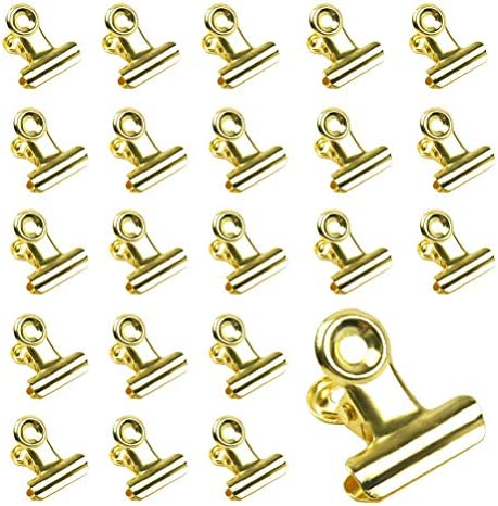 40 Packs Gold Bulldog Binder Clips 0 8 Inch Metal Hinge Paper Clips Clamps Stainless Steel Bulldog product image