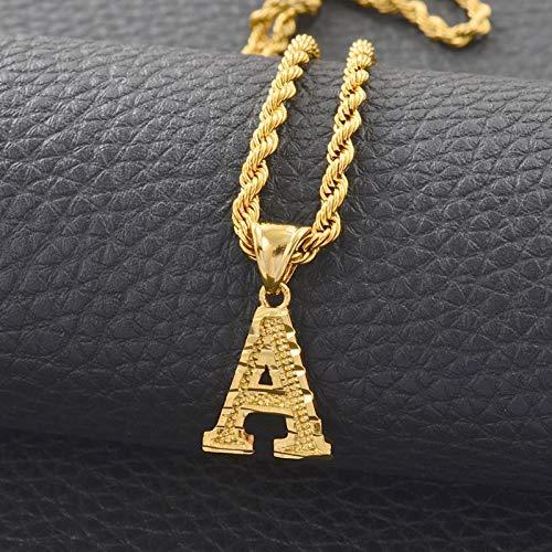 AZ Letras Collares Mujeres Hombres Color Dorado Colgante Inicial Cadena de Cuerda Letra Inglesa Joyería Alfabeto Africano
