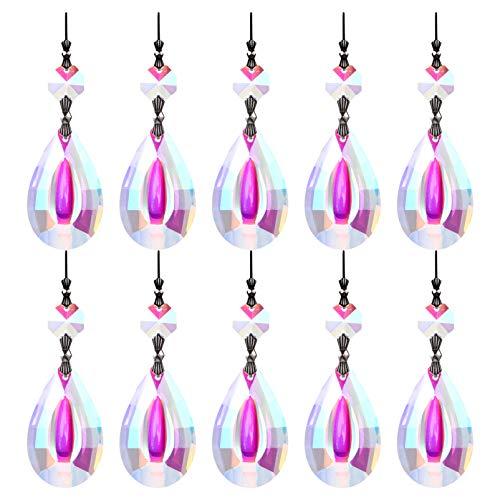 YARNOW 10 Stück Kronleuchter Kristalle Sonnenfänger Hängen Ornament Kristall Anhänger Perlen Decke Zugkette Licht Zubehör für zu Hause Auto Hochzeit