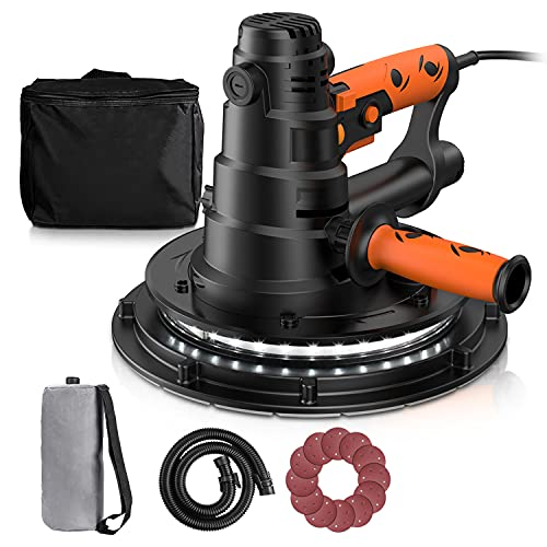 Drywall Sander, 800W Electric Drywall Sander with Automatic Vacuum Dust Collection System & LED Light, 12 Pcs Sandpapers and a Carry Bag, 6 Variable Speeds, Detachable Handle DIY-PDS03B