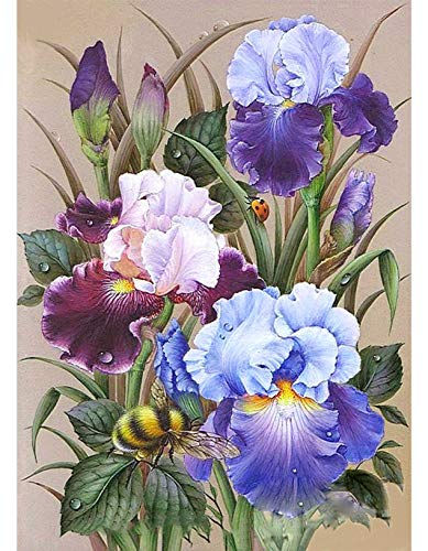 DIY 5D Diamond Painting Kits for Adults, Diamond Crystal Full Round Drill Flower Painting 5D Diamond Art Picture Craft DIY Painting for Home Wall Decor 12x16 Inch