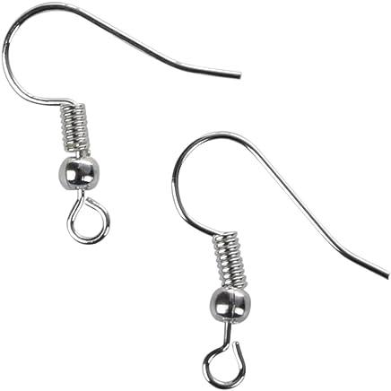 200 Crochets d'oreilles 18 mm boules argentées
