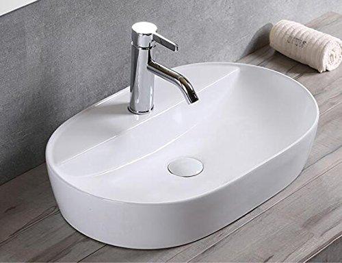 1x Keramikwaschbecken oval Aufsatz Waschbecken Keramik groß Bad 50X38cm