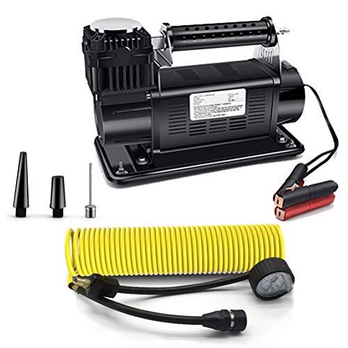 Heavy-duty bandenpomp, 160L/min 150PSI 12 V draagbare luchtcompressorpomp met batterijklem en 8M verlengluchtslang voor auto, vrachtwagen, bestelwagens, campers en andere auto's,Black
