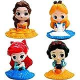 Miotlsy Princesa Cake Topper Mini Juego de Figuras Niños Sirena / Blancanieves / La Bella y la Bestia / Alicia / Mini Juguetes Baby Shower Fiesta de cumpleaños Pastel Decoración Suministros 4pcs