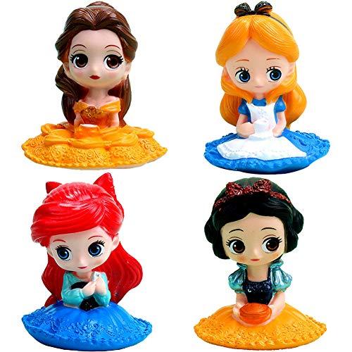 Miotlsy Princesa Cake Topper Mini Juego de Figuras Niños Sirena / Blancanieves / La Bella y la Bestia / Alicia / Mini Juguetes Baby Shower Fiesta de cumpleaños Pastel Decoración Suministros 4p