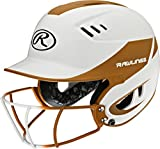 Rawlings Sporting Goods Senior Velo Sized Softball Helmet, White Orange