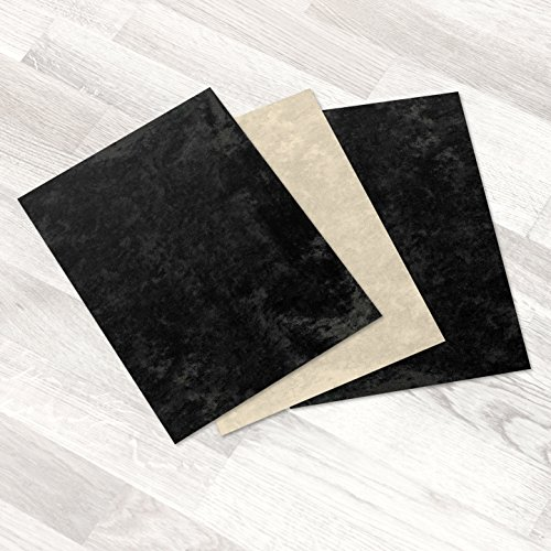 Kenley Stick-on Sole Sheets for Dance Shoes - Set of 3 Black and Beige Eco Suede Soles 8.5 x 12...