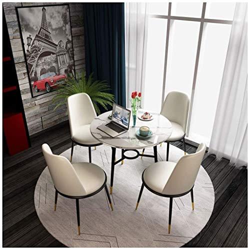 HEMFV Esstisch und 4 Stühle, Modern Marble Runde Esstisch mit 4 Ledersessel Esstisch Set for Küche und Esszimmer Möbel