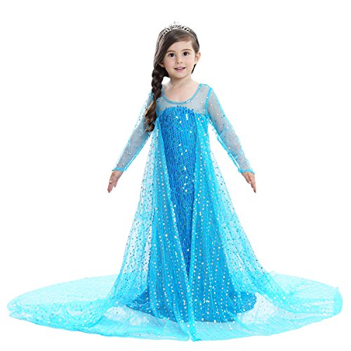 CDwxqBB Halloween-Rollenspiel, Frozen Kurzarmkleid, Kinderprinzessin Kleid,Blau,140cm