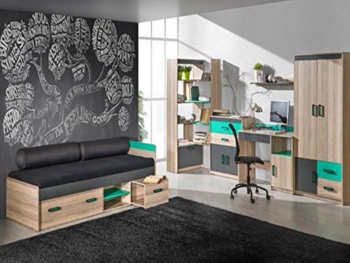 SMARTBett GmbH Jugendzimmermöbel Komplett Set Timo 04 (6 TLG.) Esche Dunkel/Grün