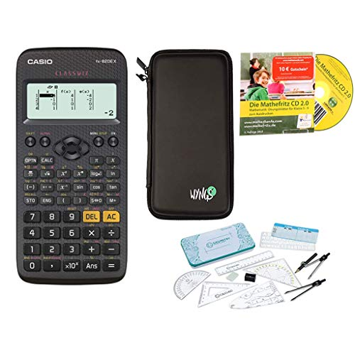 Casio FX-82DE X + Schutztasche + erweiterte Garantie + Premium Geometrie-Set + Lern-CD