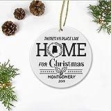 JamirtyRoy1 - Adorno navideño para árbol de Navidad 2019, no hay lugar como el hogar para Navidad Montgomery Alabama AL State, círculo de adorno de ideas de regalo feliz de 7,6 cm