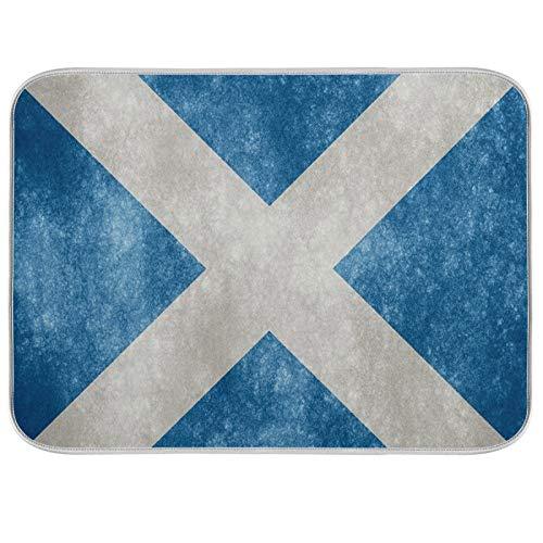 Alfombrilla para secar platos, encimeras de cocina de microfibra, protector de almohadilla seca, 16 x 18 pulgadas, bandera de Escocia vintage