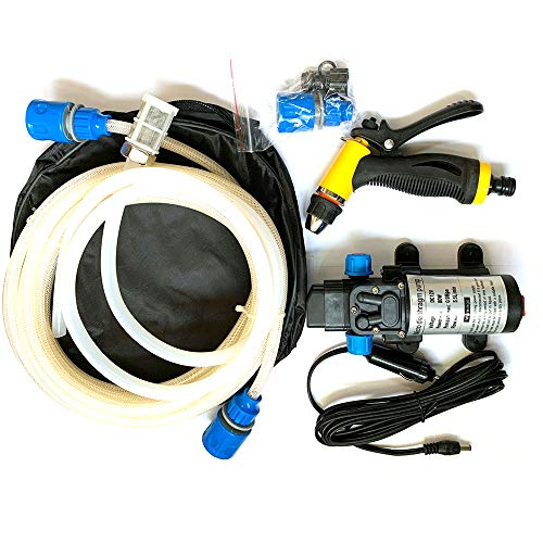 JVJ Draagbare autowasset, 12 V, 80 W, watersproeier, krachtige 120 psi-waterpomp voor auto, marine, huisdieren, ramen, tuin en camping