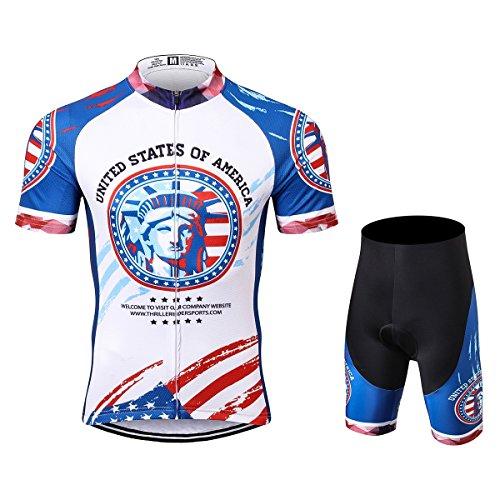 Thriller Rider Sports® Herren USA Flag Sport & Freizeit MTB Fahrradbekleidung Radtrikot und Kurze Hose Anzüge X-Large