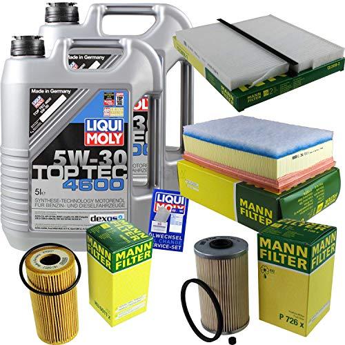 Preisvergleich Produktbild Filter Set Inspektionspaket 10 Liter Liqui Moly Motoröl Top Tec 4600 5W-30 MANN-FILTER Innenraumfilter Kraftstofffilter Luftfilter Ölfilter