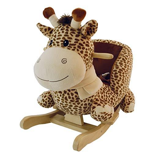 Bieco Plüsch Schaukeltier Giraffe | Schaukelpferd Baby | Schaukeltier Baby | Kinderschaukel Indoor | Baby Wippe | Baby Schaukel | Schaukelpferd ab 1 Jahr | Schaukel Baby Spielzeug ab 1 Jahr