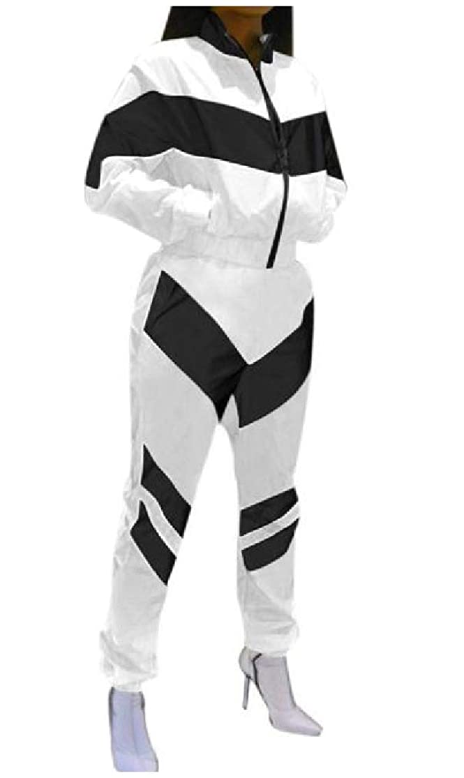 塩辛い構成統治可能女性スタンドカラーカラーステッチカジュアルアスレチックツーピーストラックスーツセット