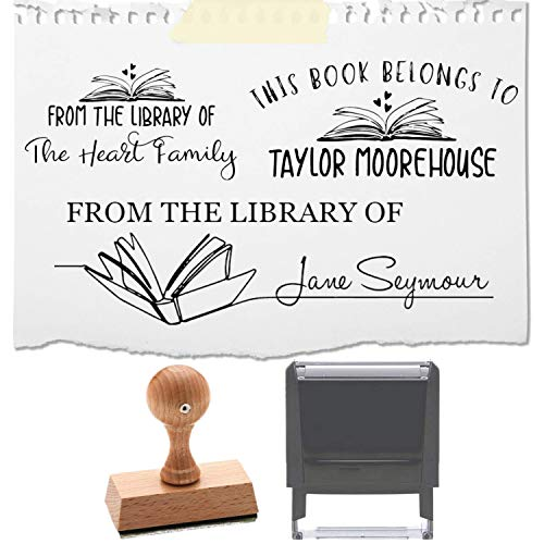 """from The Library of Book Stamp This Belongs to Personalized Self-Inking or Wood Handle Custom Classroom Library Teacher Customized Name from The Ex-Libris of 7/8"""" x 2 3/8"""" (Design 4)"""