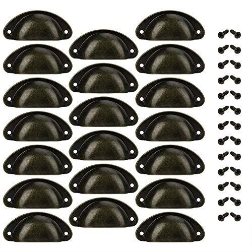 Poignée de Tiroir Bouton Porte Coquille Poignée en Forme de Coquille Décoration Porte Meuble Tiroir Armoire Placard avec Vis 20 Pièces