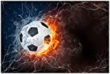 Wallario Poster - Fußball - Feuer und Wasser in