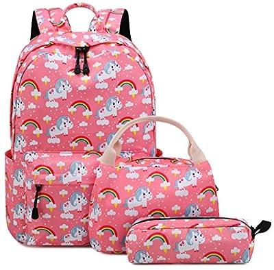 Mochila Unicornio Niña Escolar Impermeable para Preescolar Infantil Pequeñas Niño Chicas La Escuela Adolescente (6-Rosa 3PCS)