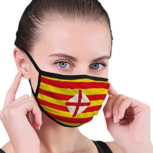 Flagge Barcelona Provinz Ostspanien Flagge Barcelona Drucken Männer Frauen Atmungsaktiv Komfortable Gesichtsschutzhülle Mit Gummiband Für Die Persönliche Gesundheit Verschiedene Verwendung,