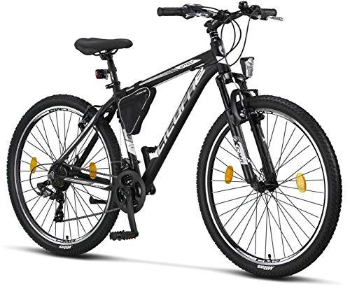 Licorne Bike Effect Premium Mountainbike in 27,5 Zoll Aluminium, Fahrrad für Jungen, Mädchen, Herren und Damen - Shimano 21 Gang-Schaltung - Herrenrad - Schwarz/Weiß (V-Bremse)