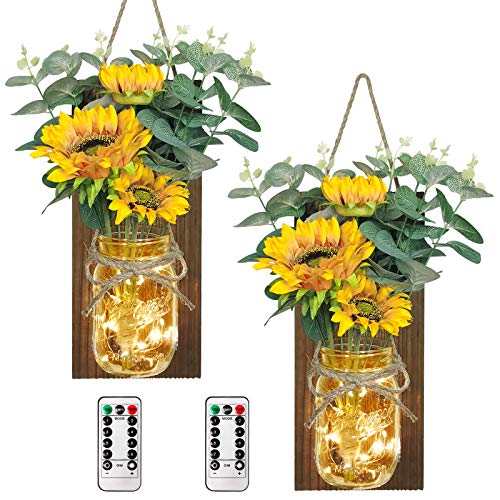 AerWo Sunflower Mason Jar Sconces Wall Decor Set of 2, Upgraded Hanging Sunflower Wall Decor with Remote LED Fairy Lights Rustic Wall Sconces for Farmhouse Kitchen Decorations Wall Home Decor